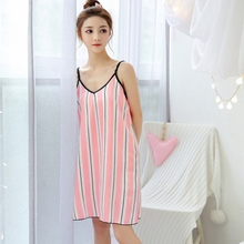 Women Spring Summer Sleeveless Sleepwear with Eyeshade Nightgown Sexy Vertical Striped Loose Comfy Silk Nightdress 2019 New
