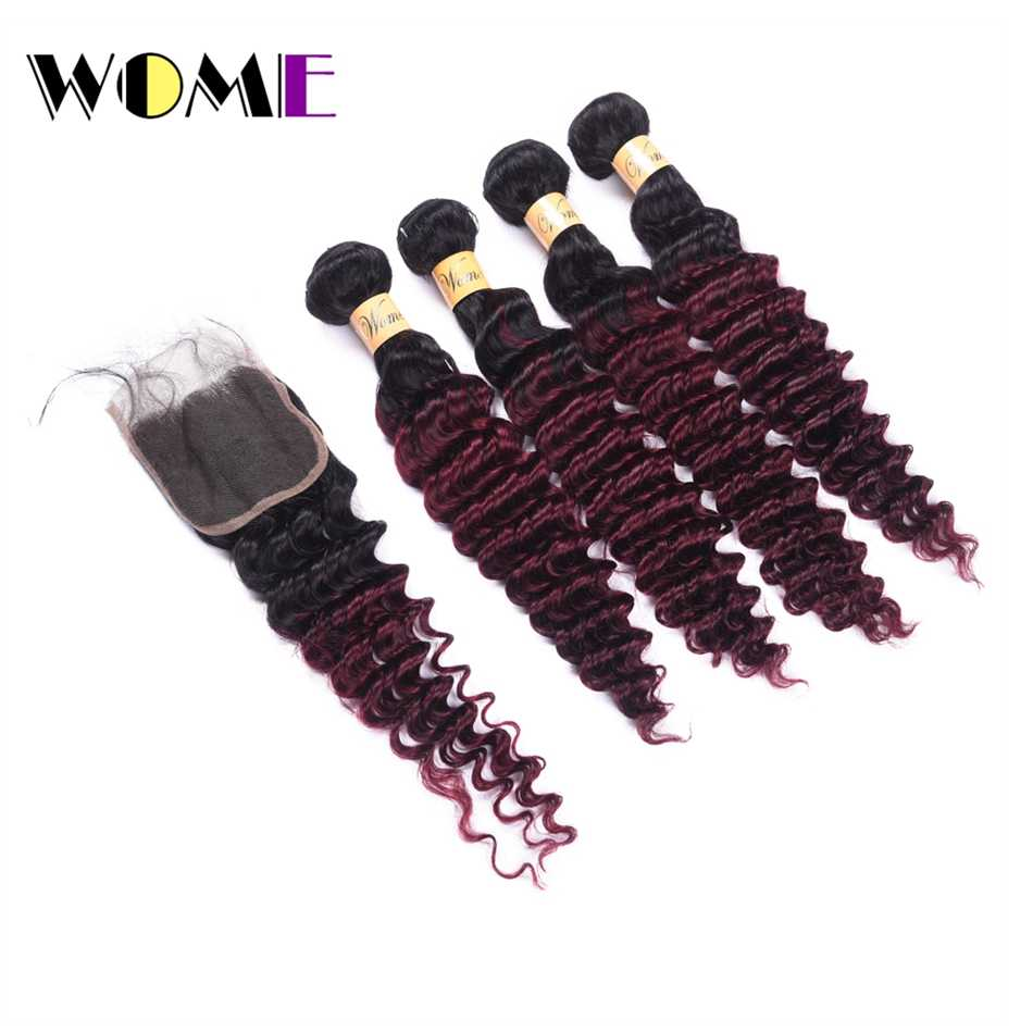 Wome T1B/99J Brazilian Deep Wave Bundles With Closure Red Wine Color Human Hair Curly 4 Bundles With Lace Closure Free Part