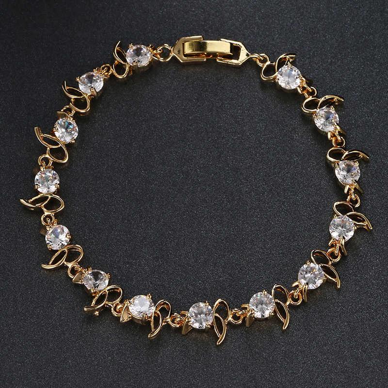 Emmaya gorący bubel złoty kolor fioletowy kryształ bransoletka moda projekt Cubic cyrkon bransoletki bransoletki luksusowa bransoletka ślubna