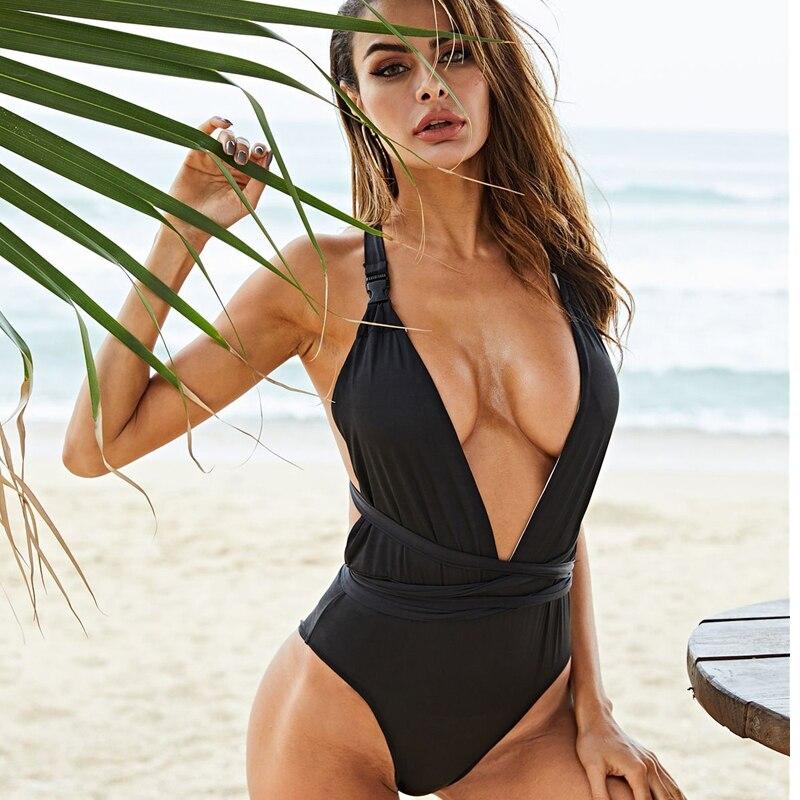 Sexy Women Deep V backless One-piece Swimsuit Plus Size Swimwear Summer Leopard Slim Bandage Bathing Suit Belt Swimsuit Monokini