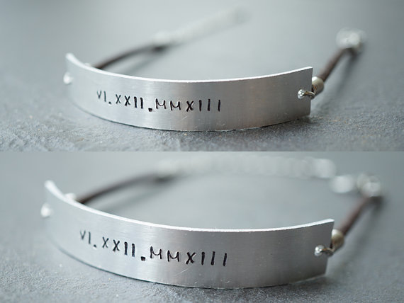 Set Of Two Silver Id Bracelet Leather His And Her Personalized Matching Anniversary S
