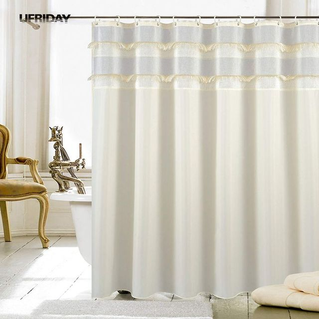 Decoration De Rideau ufriday new type joint shower curtain with tassel waterproof shower