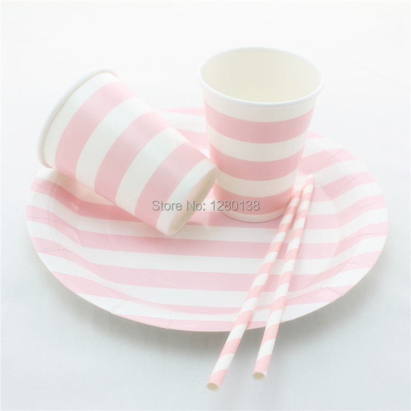 Wedding Party Supplies 600 Sets Disposable Paper Plates Drinking Paper Straws Paper Cups