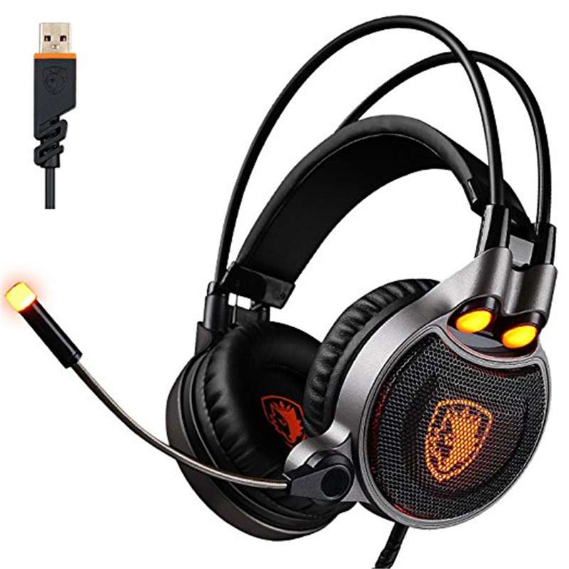 SADES R1 7.1 Surround Virtual Sound USB Gaming Headset Over-ear Headphone with Microphone LED Vibration for PC Laptop