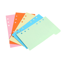 5Pcs Refills 6 Hole Blank Colorful Paper for A5 A6 Loose Leaf Binder Notebook handnote colorful a5 loose leaf notebook refills 6 holes rings binder spiral diary planner inner core inserts paper
