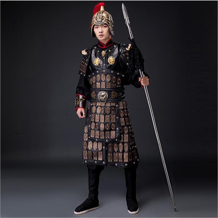 Movie TV Antique General Armored Outfit Soldier Costume Warrior Uniform helmet Garment Theatre Group Performed Costume Armor