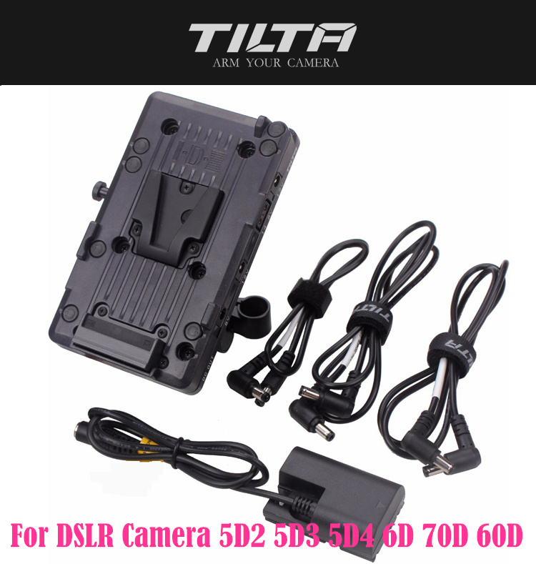 TILTA V mount Battery Plate Power Supply System with 15mm Rod Adapter for DSLR Camera 5D2