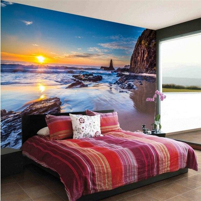 Beibehang Nach Tapeten 3d Stereo Beach Sunset Landschafts Wohnzimmer