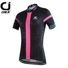 Cheji Short Sleeve Cycling Wear Top Women Bicycle Jerseys MTB Bike Jackets S-XXL Pink And Black