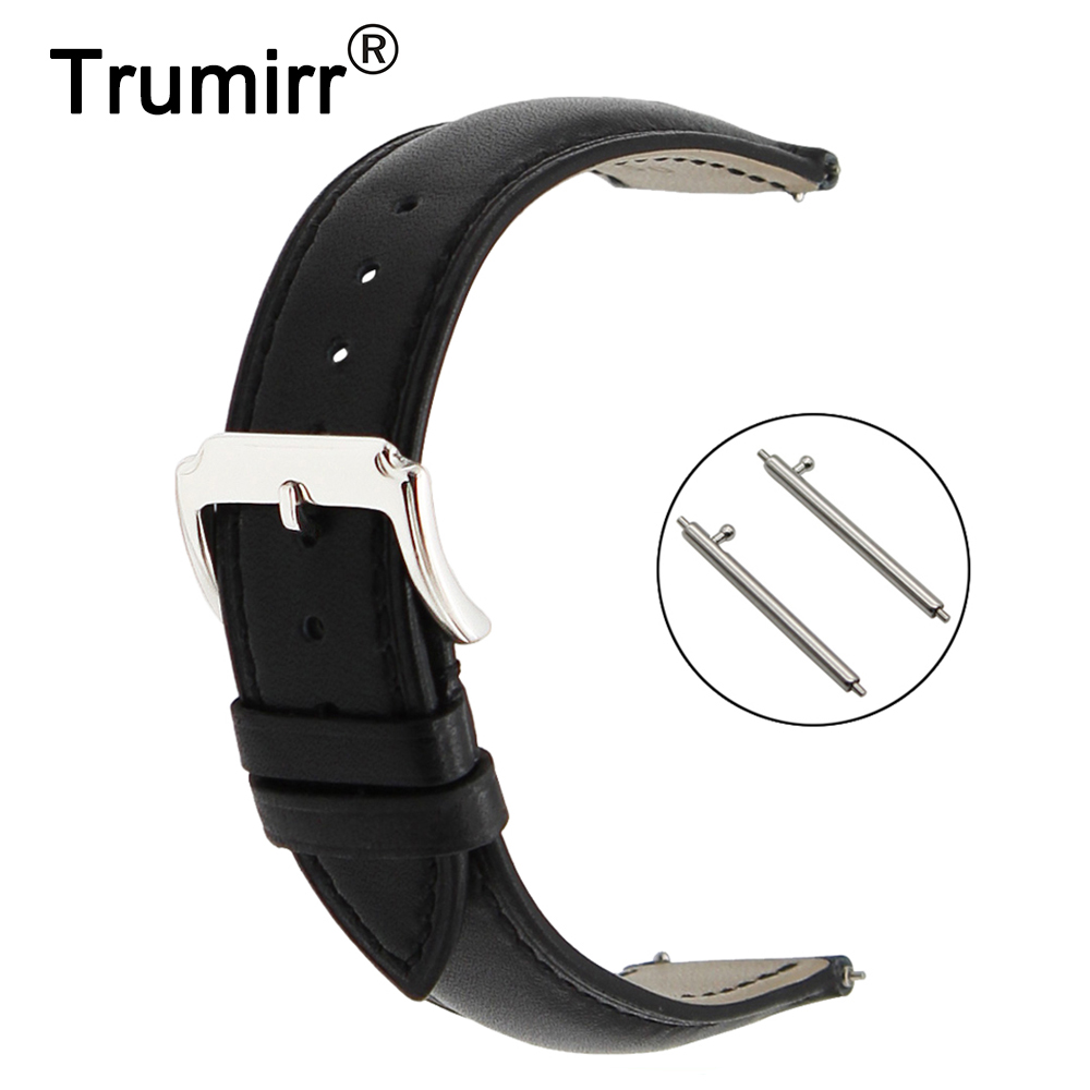 18mm First Layer Genuine Leather Watchband Quick Release Strap for Huawei Watch / Fit Honor S1 Belt Band Wrist Bracelet Black 18mm crystal diamond watchband quick release for huawei watch fit honor s1 asus zenwatch 2 women wi502q steel band wrist strap
