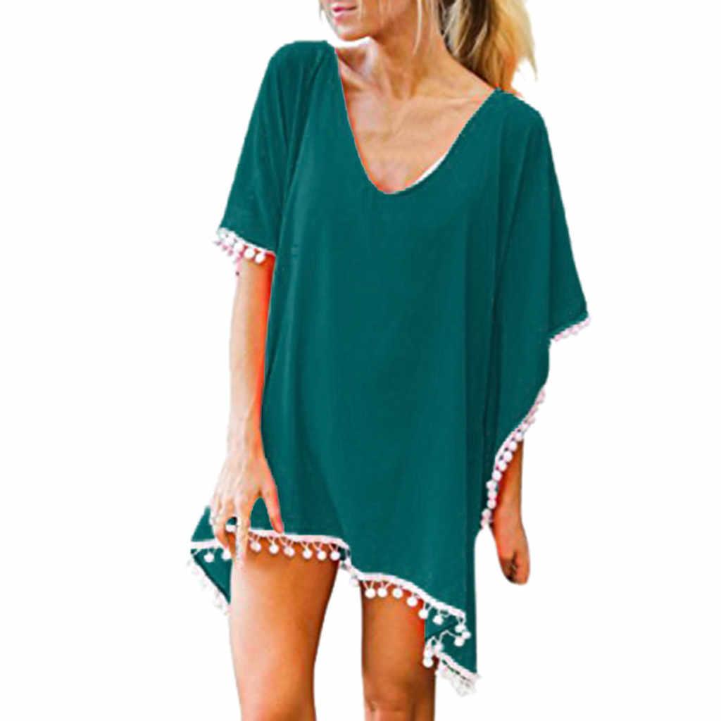 Wanita Pom Pom Trim Kaftan Chiffon Jumbai Baju Renang Pantai Longgar Bikini Cover Up Wanita Sifon Rumbai Bola Beach Blus A30328