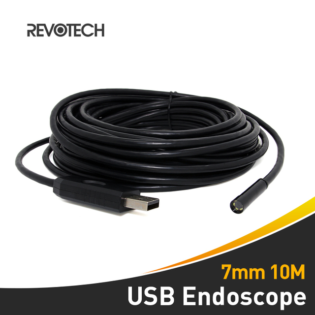 7mm 10M Cable USB Endoscope with 6 LED Inspection Camera Borescope ...