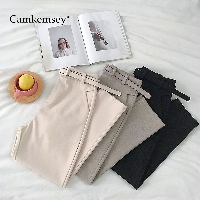 CamKemsey Office Lady Work Wear Casual Suit Pants 2019 Spring Autumn Korean Brief Solid Woolen Blends High Waist Harem Pants