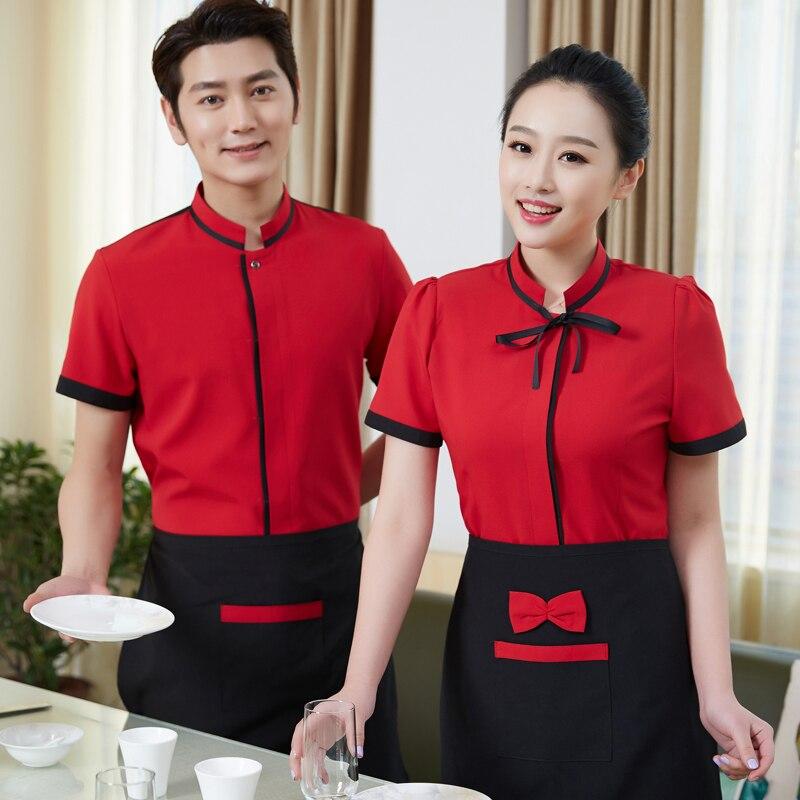Hotel Uniform Spring Summer Restaurant Waitress Uniforms Overalls Short Sleeved Half Sleeve Apron Cafe  Workers Work Suits J048