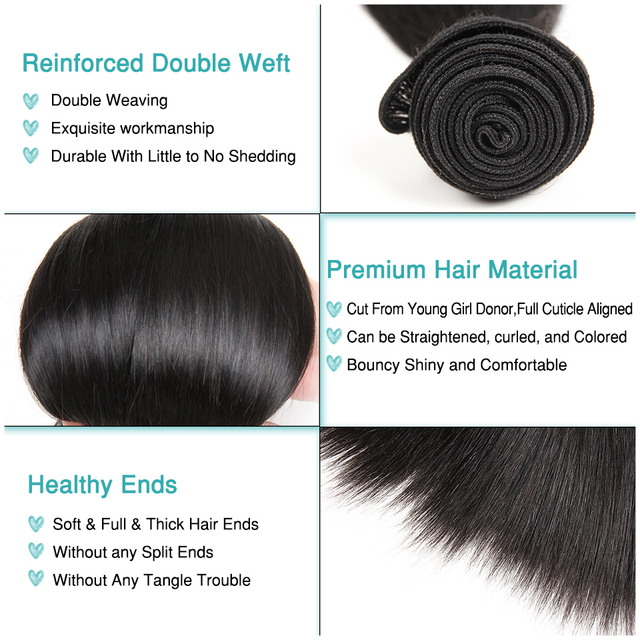 ALI GRÂCE Cheveux Brésilienne Droite de Cheveux Humains 1 pièce Cheveux Weave Bundles 10-28 pouce Naturel Couleur Livraison Gratuite remy Cheveux 2