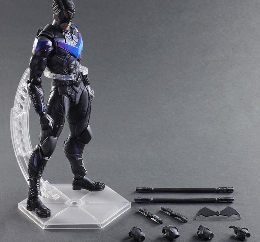 BatMan Action Figure Play Arts Kai Batman Nightwing PVC Figure Toy 260MM Anime Movie Bat Man Arkham Knight Variant Playarts PA17 super street fighter iv akuma gouki white variant play arts kai action figure