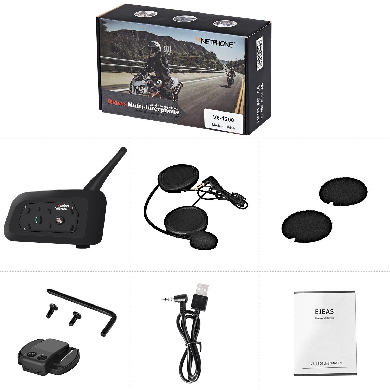Interphone System Intercom MP3 850mAh Helmet Bluetooth Headset Stable Motorbike Comunicador V6 Team Speaker for 6