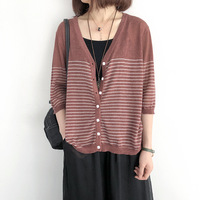 Summer loose knit thin tunic women 7 point sleeves ramie sunscreen outside female short shirt stripe womens tops and blouses