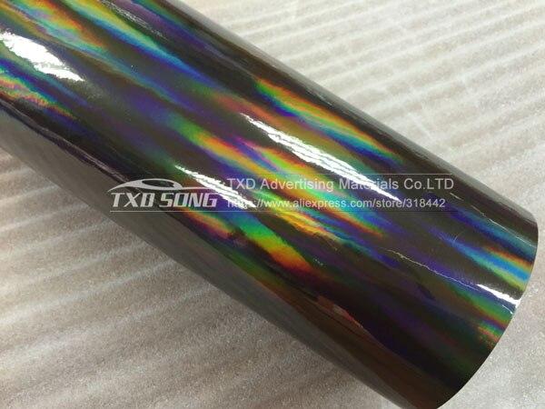 30 см X 152 см/лот голографическая Автомобильная виниловая пленка для украшения кузова автомобиля с воздушными пузырьками, автомобильная наклейка - Название цвета: BLACK
