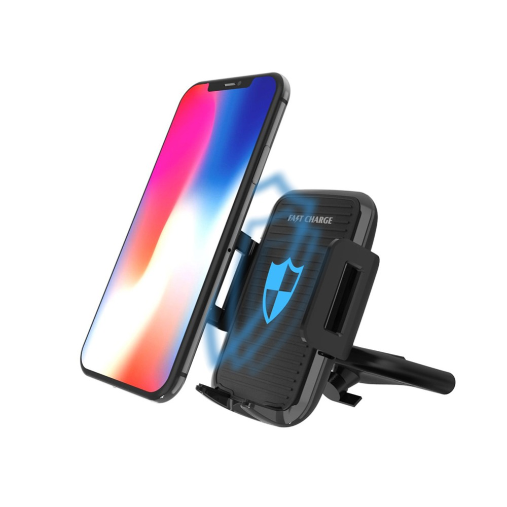 CD Slot Car Mount Qi Wireless Charger For iPhone X 8Plus Quick Charge Fast Wireless Charging Pad Car Holder Stand For Samsung S8 держатель для смартфона с функцией беспроводной зарядки