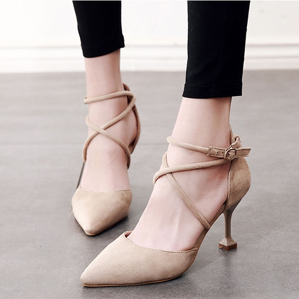 Women Pumps High Heels Shoes Spring Autumn Pointed Toe 2018 Sexy New Fashion Flock Casual Party Wedding Office Shoes CH B0082 in Women 39 s Pumps from Shoes
