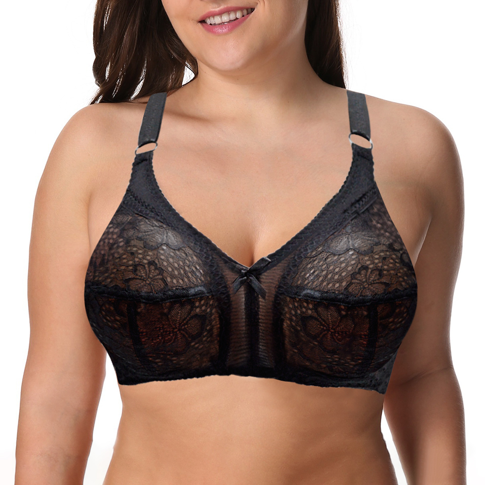 New See Though Plus Size Women Sexy Lingerie Lace Bra -1473