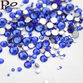All Sizes Mix Sizes Blue Non Hot fix 3D Glass Stone Nail Art Rhinestone Crystal Strass Glue On For Nails DIY 1000pcs/lot