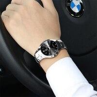 Top Brand Luxury Men Watches Silver Waterproof Date Week Quartz Watch Man Tungsten Steel Sport Wrist