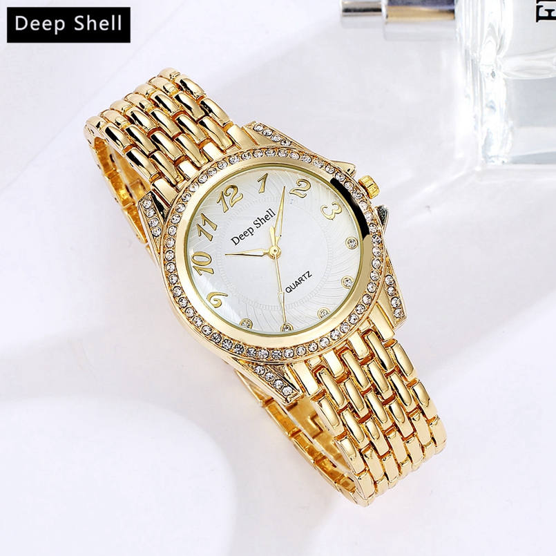 Deepshell Gold Women Watche 2017 New Designer Ladies Watches Rhinestone Full Diamonds Women Dress Watche Dropship