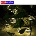 Branco morno 10 Bolas/Set Atacado Marroquino LED String Fada Luzes de Natal Decoração Da Lâmpada LED Movido A Energia Solar