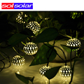 Warm white 10 Balls/Set Wholesale Moroccan String LED Fairy Lights Christmas Decoration LED Lamp Solar Powered