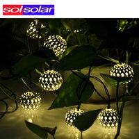 Warm white 10 Balls/Set Wholesale Moroccan String LED Fairy Lights Christmas Decoration LED Lamp Solar Powered Halloween