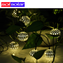 Warm white 10 Balls/Set Wholesale Moroccan String LED Fairy Lights Christmas Decoration LED Lamp Solar Powered Halloween