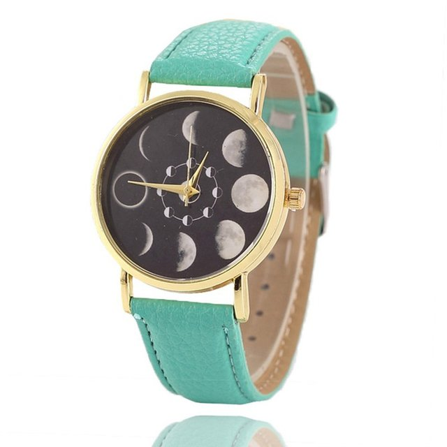 Moon Shaped Total Eclipse Women Quartz Lunar Pattern Casual Ladies Leather Brace