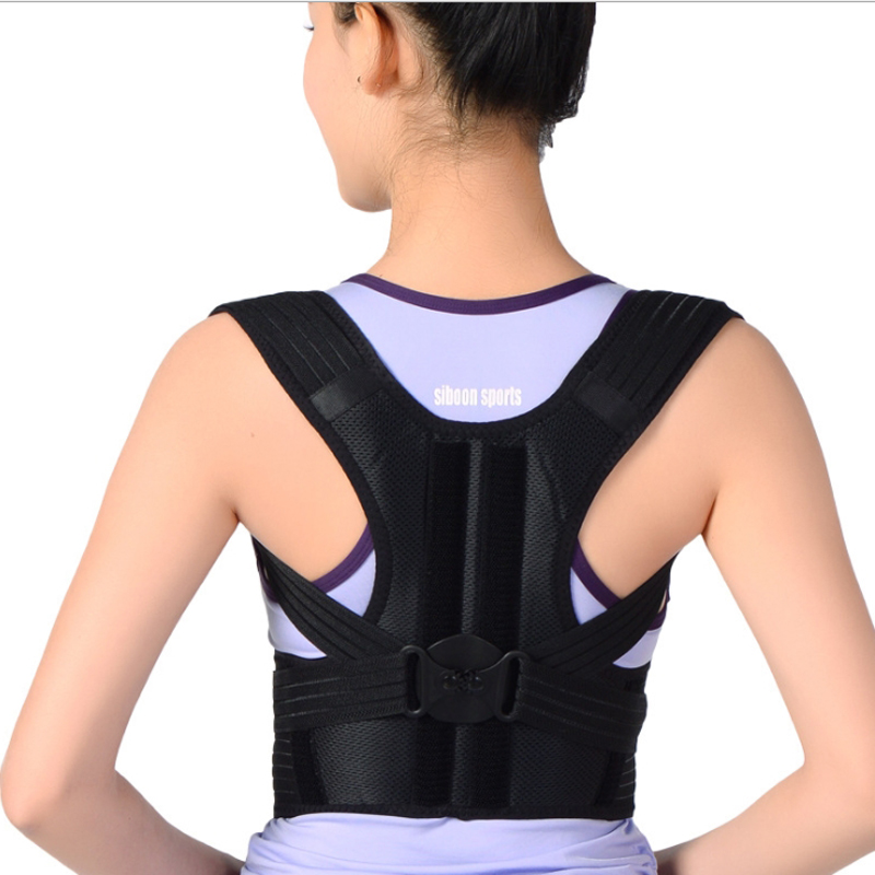 blessfun Back Support Brace Posture Belt Back Brace Rectify Health Care Adjustable Shoulder Bandage Back Belt Posture Corrector aibikang steel posture corrector back brace and adjustable double pull shoulder back support belt xxl 52 black
