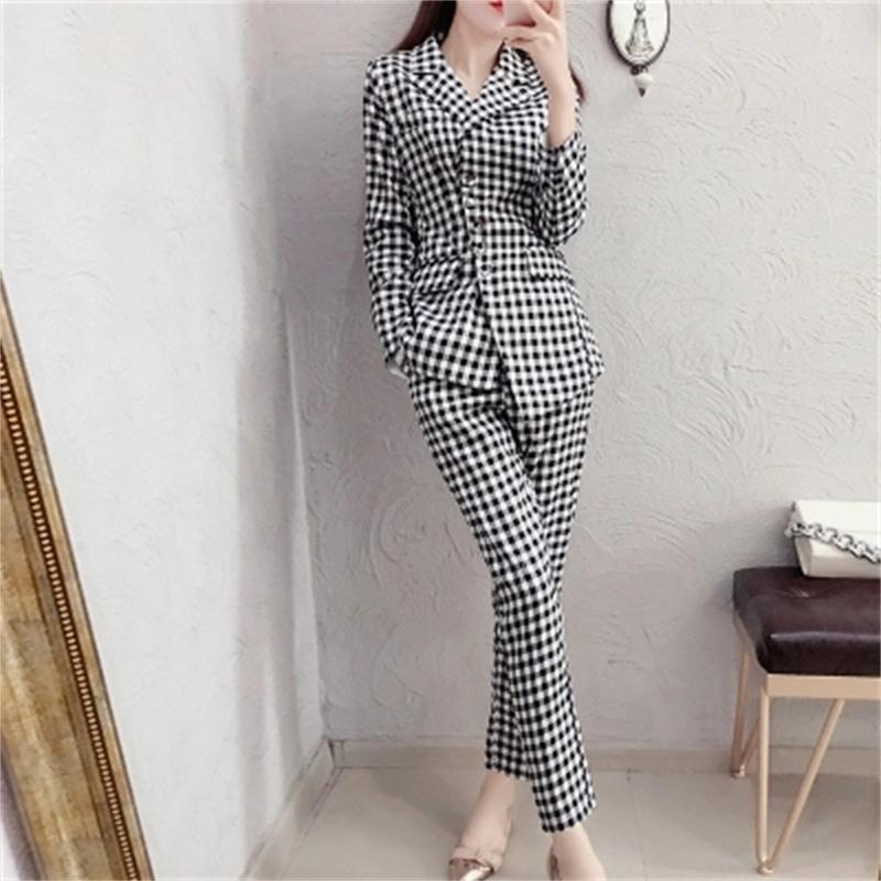plaid Women Suit Sets Blazer & 9 points pants Work Pants Suits 2 Piece Sets Office Lady Suits Women Outfits summer New 2018