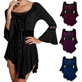 Fashion Gothic Tops Women Plus Size Long Flare Sleeve Square Collar Shirts Sexy Spliced Lace-Up Renaissance Corset Tees D2