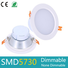 цена на Dimmable Led Panel Downlight 5w 7w 9w 12w 15w 20w 30w SMD 5730 LED Ceiling Recessed Light AC110 220V Spot LED Panel Light White