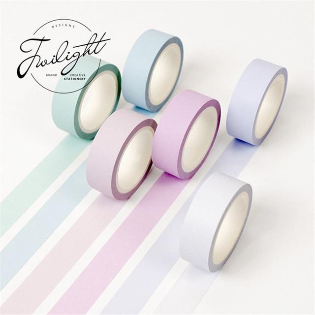 Cinta de washi de papel de color suave de 15mm * 8 m cintas de enmascarar de colores puros pegatinas decorativas suministros escolares de papelería DIY