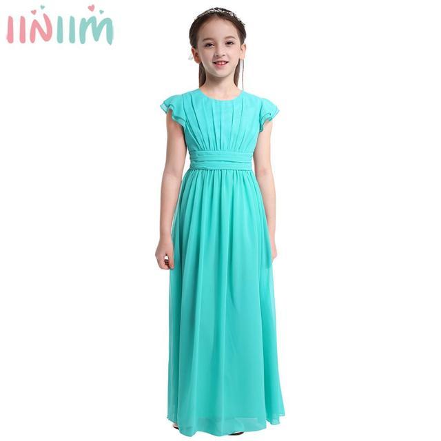 Iiniim בנות פרח טוטו שמלת רפרוף שרוולים נסיכת שמלות שושבינה קיץ מסיבת יום הולדת שמלת בגדי ילדים