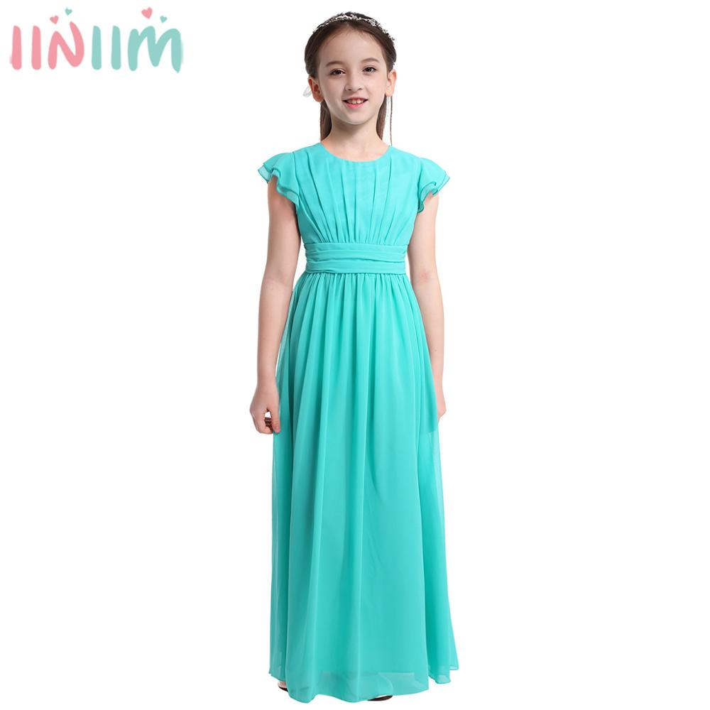iiniim Girls Flower Tutu Dress Flutter Sleeves Princess Dresses Bridesmaid Summer Birthday Party Dress Childrens Clothinggirls christmas dressgirl christmasbirthday party dress -