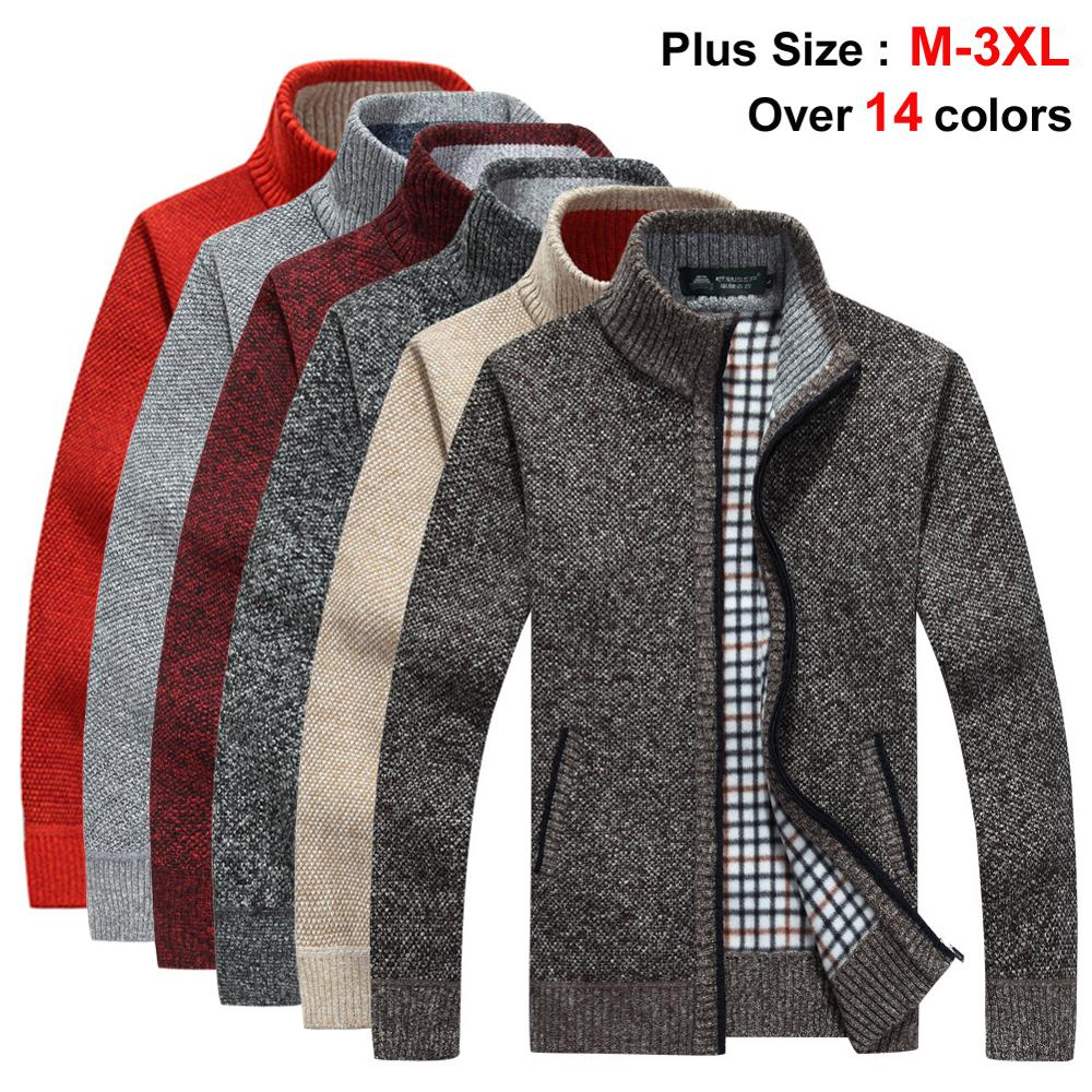 NIGRITY 2019 Autumn Winter Mens New Sweater Jacket Thick Warm Loose Fit Male Tops Sweater Plus Size Outerwear 14 Colors Optional