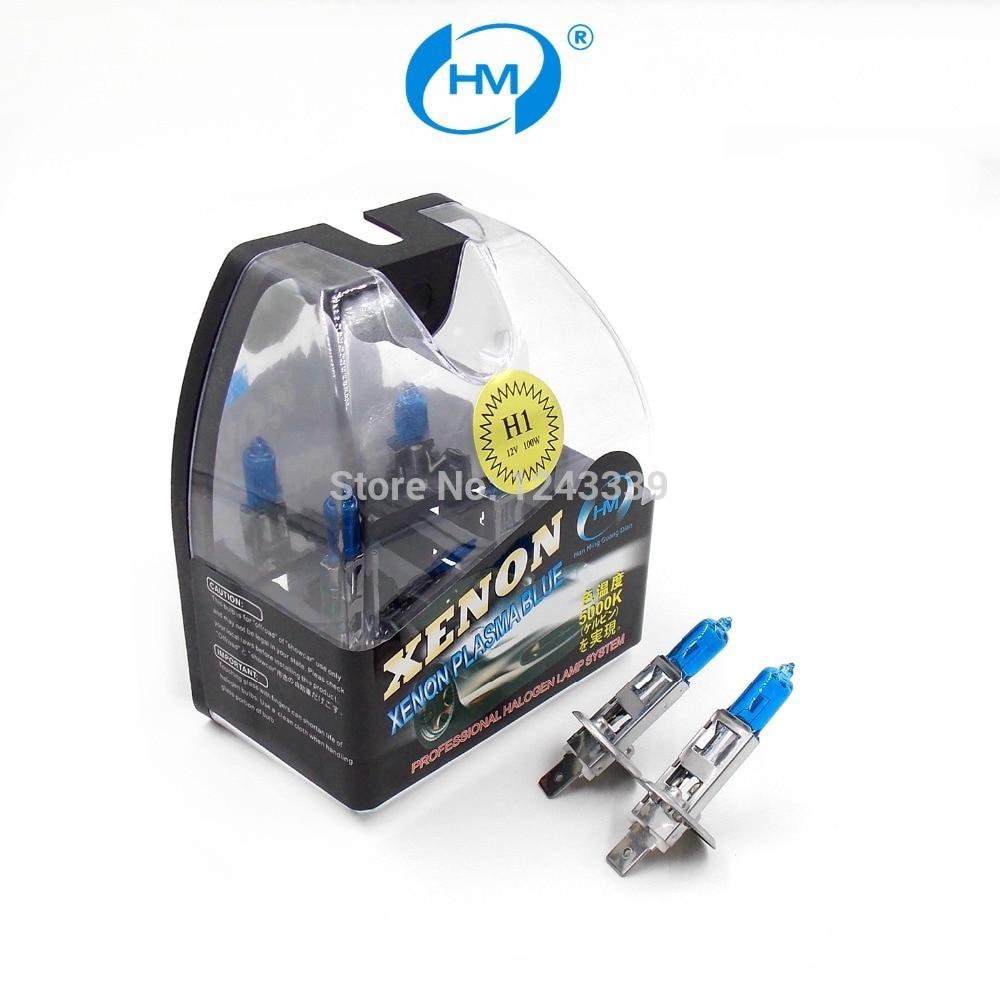 HM Xenon Plasma Super white light H1 12V 100W Halogen Automotive Car Head Light Bulbs Lamp (a Pair) flytop h1 halogen lamps 24v 70w 10 pcs 5000k super white xenon dark blue bulbs quartz glass car headlights