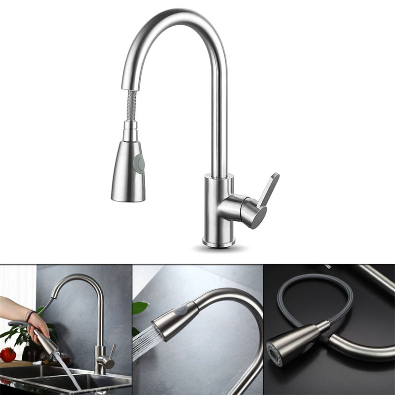 Newly 2019 Pull Out Faucet Tap Kitchen Basin Sink 360 Degree Rotation Hot Cold Water Mixer