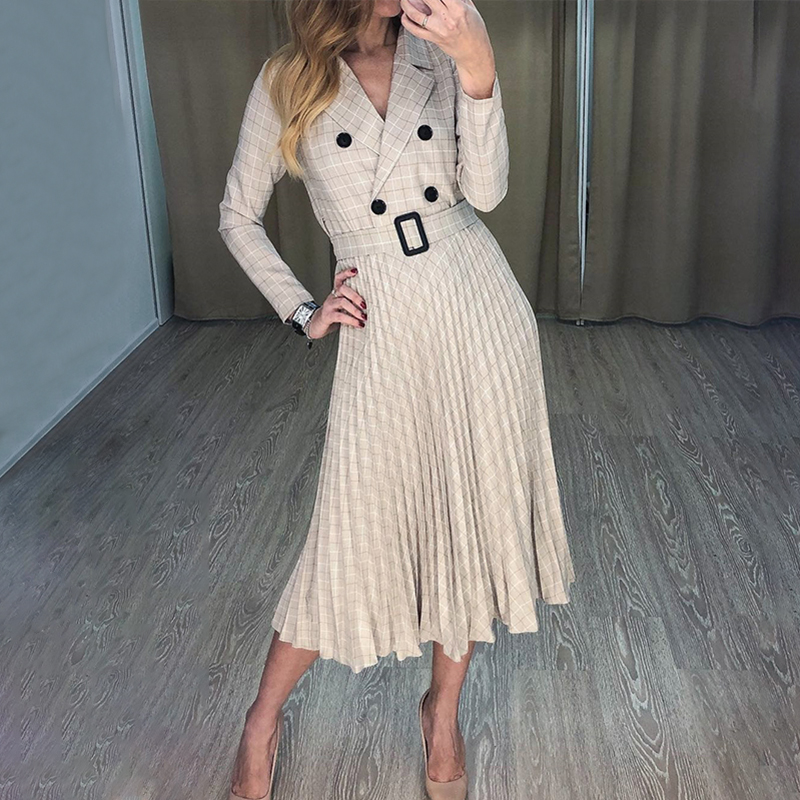 BerryGo Autumn winter women blazer dresses vestidos Pleated plaid long dress elegant Office ladies high waist belt female robe 2