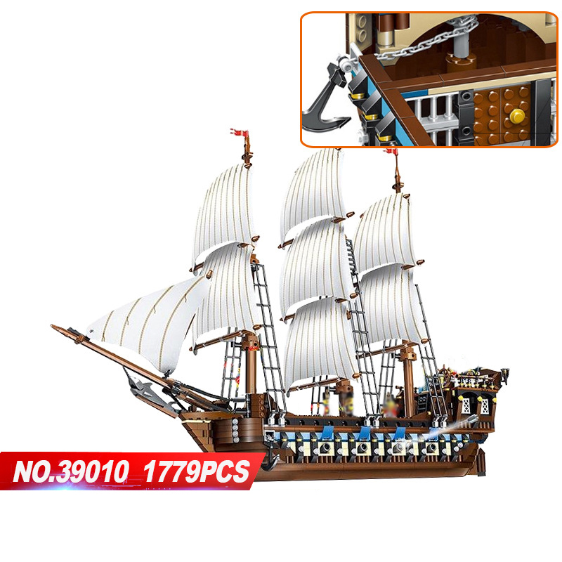 Hot movie Caribbean pirate Imperial warship ship building block Navy figures model bricks 10210 toys collection for gifts lepin 16002 2791pcs modular pirate ship metal beard s sea cow building block bricks set toys legoinglys 70810 for children gifts
