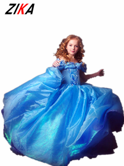 ZIKA 2017 New Cinderella Girl Dress Princess Blue Girls Dress,Cosplay Carnival Costumes,Fairy Tale Infantile Party Dress c40 fairy tale dress kids halloween princess cosplay dress