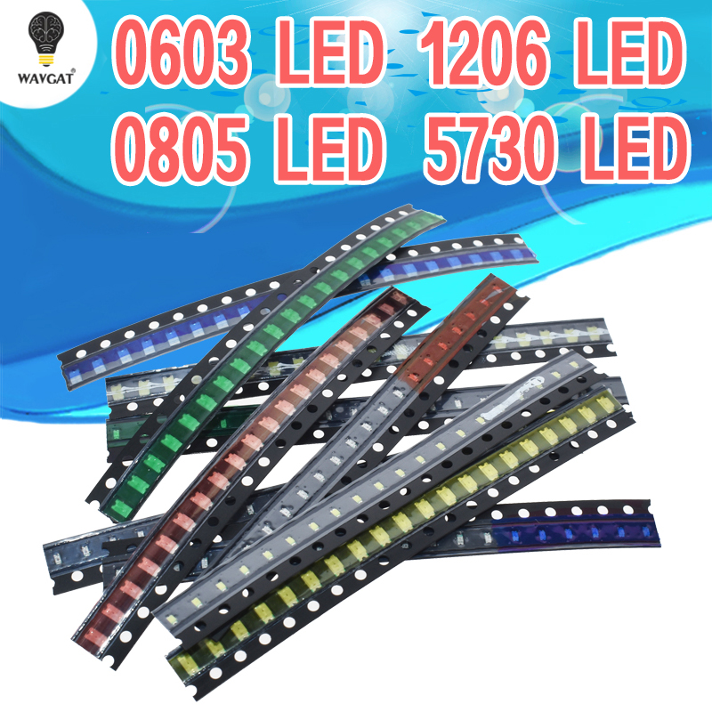 100 Pcs 5 Colors SMD 0603 LED Light Red Green Blue Yellow White Assotment Set
