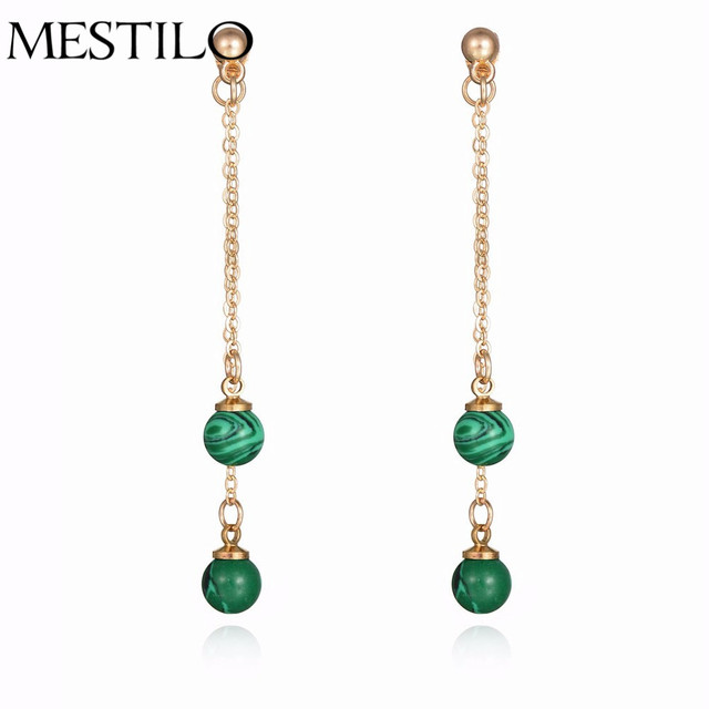 7a072b25a Simple Green Faux Stone Ball Gold Ear Jackets Elegant Jewelry Drop Earrings  Vintage Party Long Chain