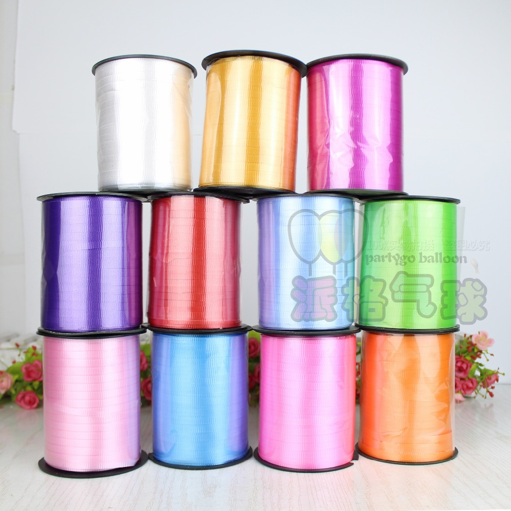 5pcs/lot 5mm 500 yards amboss balloon ribbon for wedding party birthday balloon decoration PP balloon curling colorful ribbons